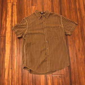 Brown striped button down shirt